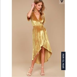 Amour Golden Yellow High-low Wrap Dress
